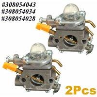 2x Carburettor Carbs For Ryobi Homelite Strimmer for ZAMA C1U-H60 308054003 985624001 308054012 308054004