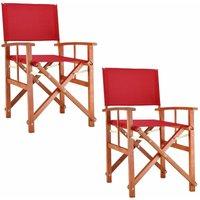 Chaise de Jardin « Cannes » - différentes couleurs - pliable - bois d'eucalyptus certifié FSC - pré-huilé - design régisseur - Fauteuil 2x Rouge