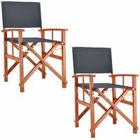 Chaise de Jardin « Cannes » - différentes couleurs - pliable - bois d'eucalyptus certifié FSC - pré-huilé - design régisseur - Fauteuil 2x Gris