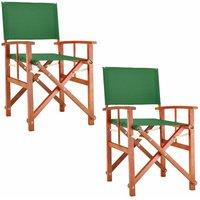 Chaise de Jardin « Cannes » - différentes couleurs - pliable - bois d'eucalyptus certifié FSC - pré-huilé - design régisseur - Fauteuil 2x Vert