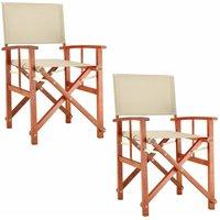 Chaise de Jardin « Cannes » - différentes couleurs - pliable - bois d'eucalyptus certifié FSC - pré-huilé - design régisseur - Fauteuil 2x Crème