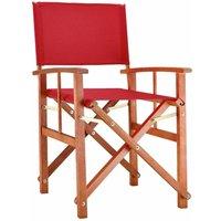 Chaise de Jardin « Cannes » - différentes couleurs - pliable - bois d'eucalyptus certifié FSC - pré-huilé - design régisseur - Fauteuil Rouge - Deuba