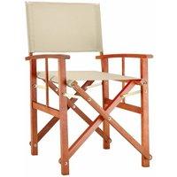 Chaise de Jardin « Cannes » - différentes couleurs - pliable - bois d'eucalyptus certifié FSC - pré-huilé - design régisseur - Fauteuil Crème - Deuba