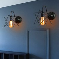 2X Industrial Iron Wall Light Creative Black Cage Wall Lamp Antique Retro Star Shape Wall Light E27 Socket