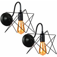 Axhup - 2X Industrial Iron Wall Light Creative Black Cage Wall Lamp Retro Star Shape Wall Light E27 Socket
