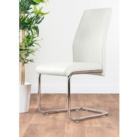 2x Lorenzo White Faux Leather Chrome Dining Chairs