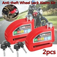 2x Motorcycle Scooter ATV Anti-theft Wheel Disc Brake Lock Security Alarm Metal