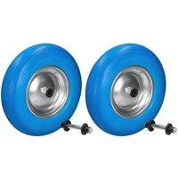 2 x ruota per carriola gomma piena PU antiforatura 4.80/4.00-8 blu incluso asse - ECD GERMANY