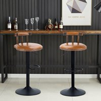 2x Rustic Industrial Vintage Retro Breakfast Bar Stool Kitchen Counter Chairs - Wood