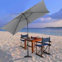 2x3M Large Square Garden Parasol Outdoor Beach Umbrella Patio Sun Shade Crank Tilt, Light Grey - LIVINGANDHOME