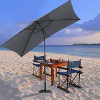 2x3M Parasol Umbrella Patio Sun Shade Crank Tilt with Round Base, Dark Grey