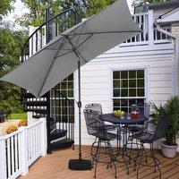 2x3M Parasol Umbrella Patio Sun Shade Crank Tilt with Square Base, Light Grey - LIVINGANDHOME
