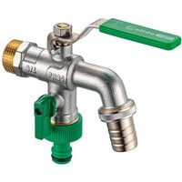 Calido - 3/4 Inch BSP Double Outlet Garden Outdoor Tap Ball Valve Faucet Hose Fitting