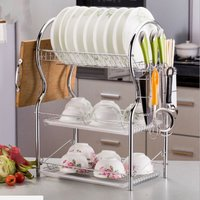 Maerex - 3 Chrome Alloy Sofas Dish Drainer Cutlery Holder Drainer Drip Tray Kitchen Storage Bin With Drip Tray