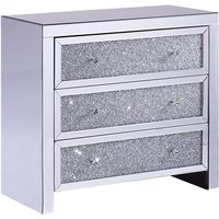 Beliani - Modern Glam Mirrored Chest of Drawers Sideboard Crushed Diamonds Silver Tilly