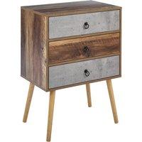 Beliani - Rustic Sideboard Living Room Chest 3 Drawers Dark Wood with Grey Batley