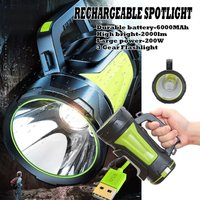 3 Gear 6000mAh 2000lm 200W Flashlight Super Bright LED Work Light Portable Waterproof RECHARGEABLE Torch USB Charging Mohoo
