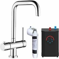 Sauber - 3 in 1 Instant Hot Cold Boiling Water Angular Kitchen Tap Filter Tank Chrome