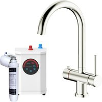 Sauber - 3 in 1 Instant Hot Cold Boiling Water Kitchen Tap Filter Tank Twin Lever Brushed