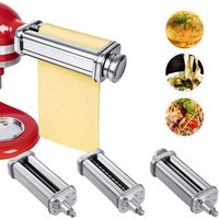 3 in 1 Set Pasta Machine Accessories, 3 Piece Pasta Roller and Cutting Tool for KitchenAid Stand Mixer, Stainless Steel Pasta Machine Accessories