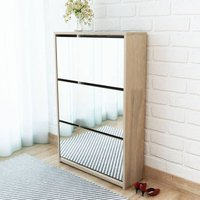 3-Layer Mirror 9 Pair Shoe Storage Cabinet by Brown - Ebern Designs