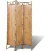 Zqyrlar - 3-Panel Bamboo Room Divider - Brown
