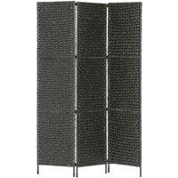 3-Panel Room Divider Black 116x160 cm Water Hyacinth - Black
