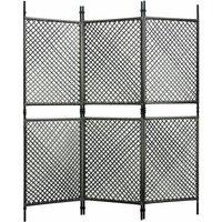 3-Panel Room Divider Poly Rattan Anthracite 180x200 cm - VIDAXL