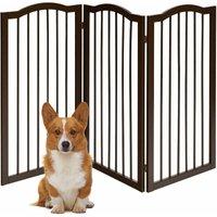 Costway - 3 Panels Folding Pet Dog Gate Fence Child Safety Barrier Freestanding Pine Wood