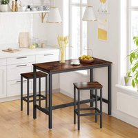 Rectangular Bar Table Set with 2 Stools Kitchen Counter Breakfast Chair Seat