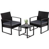 3 PCS Rattan Wicker furniture Set 2 Seater Wicker patio conservatory Dining Set Indoor Outdoor Modern Bistro Set,Black