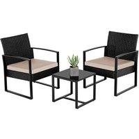 3 PCS Rattan Wicker furniture Set 2 Seater Wicker patio conservatory Dining Set Indoor Outdoor Modern Bistro Set,Black/Beige