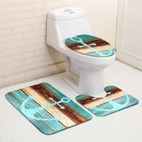 3 Pcs / Set Retro Old Style Boat Anchor Non-slip Bathroom Mat Pedestal Carpet + Toilet Seat Cover + Bath Mat Hasaki - KINGSO