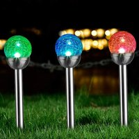 3 Pcs Solar Garden Lights Outdoor, Color Changing and White Two LEDs, Decorative Ball Solar Lights for Patio/Lawn/Yard/Path/Landscape (Crackled Glass).