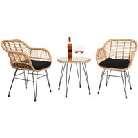 3 pcs Wicker Rattan Patio Conversation Set with Tempered Glass Table