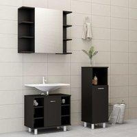 Betterlifegb - 3 Piece Bathroom Furniture Set Black Chipboard20188-Serial number