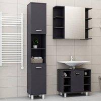 Betterlifegb - 3 Piece Bathroom Furniture Set High Gloss Grey Chipboard20202-Serial number