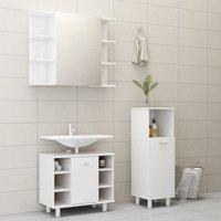 Betterlifegb - 3 Piece Bathroom Furniture Set High Gloss White Chipboard20193-Serial number