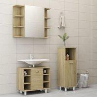 Betterlifegb - 3 Piece Bathroom Furniture Set Sonoma Oak Chipboard20190-Serial number