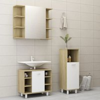 3 Piece Bathroom Furniture Set White and Sonoma Oak Chipboard20192-Serial number