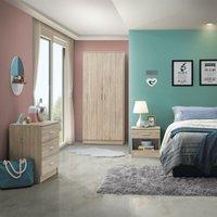 3 Piece Bedroom Furniture Set Wardrobe Chest Drawers Bedside Table Sonoma Oak - TIMBER ART DESIGN UK