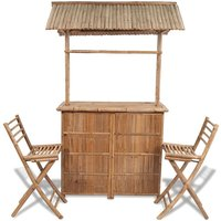 3 Piece Bistro Set Bamboo - YOUTHUP