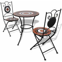 Youthup - 3 Piece Bistro Set Ceramic Tile Terracotta and White