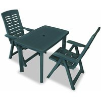3 Piece Bistro Set Plastic Green - YOUTHUP