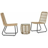 Zqyrlar - 3 Piece Bistro Set Poly Rattan Oak - Brown
