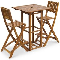 Zqyrlar - 3 Piece Bistro Set Solid Acacia Wood - Brown