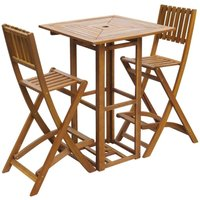 3 Piece Bistro Set Solid Acacia Wood - ASUPERMALL