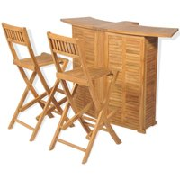 3 Piece Bistro Set with Folding Chairs Solid Teak Wood - ASUPERMALL