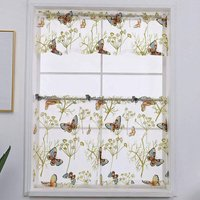 3-Piece Butterfly Print Semi Sheer Rod Pocket Kitchen Curtain Tier and Valance Set, Butterfly