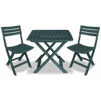 3 Piece Folding Bistro Set Plastic Green - YOUTHUP